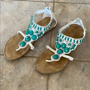 White and Turquoise Gladiator sandals